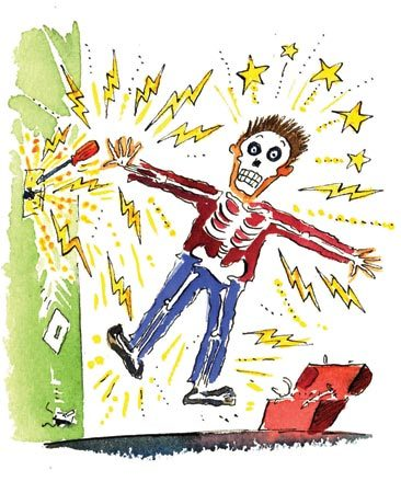 <b>Electrical shock</b></br> Electrical shocks can kill you. Always check wires with a noncontact voltage tester before touching them.