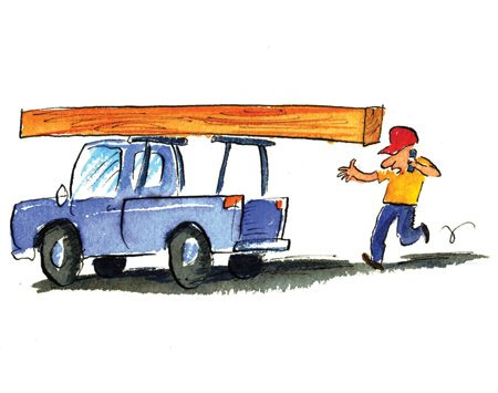 <b>Overhanging beam</b></br> Beware of head-high lumber. It'll whack you when you not looking.