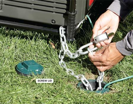 <b>Stop crooks and prevent shocks</b></br> Protect yourself from accidental electrocution by connecting the generator to a grounding rod. Then secure the unit to the eyebolt with a hardened steel chain and heavy-duty padlock.