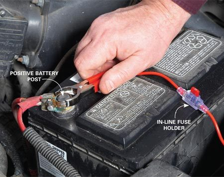 <b>Jump power to the horn</b><br/>Make a fused jumper with 16-gauge wire, two clamps and an in-line fuse holder. Connect one clamp to the terminal on the horn and quickly touch the other  end to the positive battery terminal.