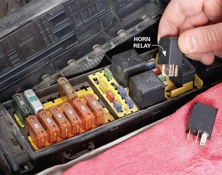 <b>Try a different relay</b><br/>Search the fuse box for the horn relay and then find another one with the same part number to swap with it. If the horn works, buy a new relay.