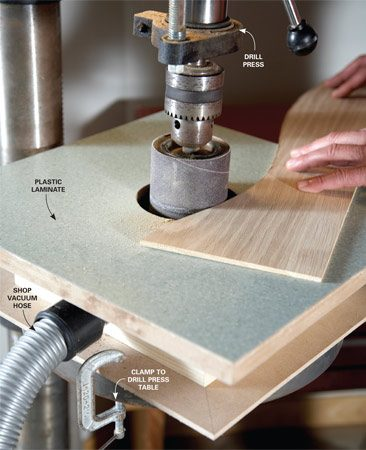<b>Drum sander table in action</b></br> Mount a sanding drum in your drill press and clamp the sanding table to the drill press table.