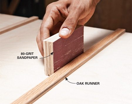 <b>Photo 4: Fine tune the runners</b></br> Sand the edges of the runners where they rub on the sides of the miter gauge slots. Dark spots indicate areas that need sanding.