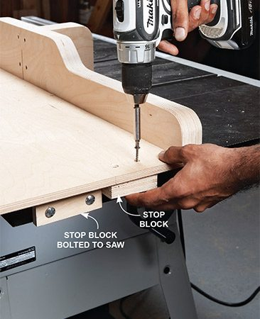 <b>Photo 7: Install stop blocks</b></br> Install stops to prevent the blade from cutting through the blade cover.