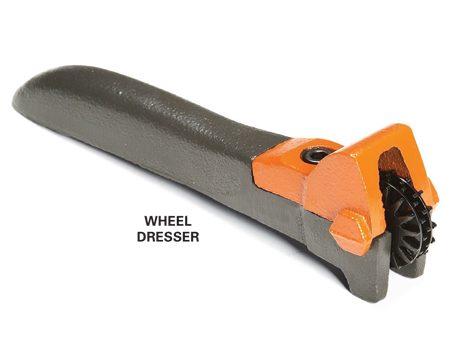 "<b>Wheel dresser</b></br> This ""star wheel"" dresser removes built-up grains of metal that clog the wheel grit."
