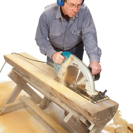 <b>Monster circular saw</b><br/>This saw on steroids is the Makita 16-5/16-in. circular saw (model No. 5402NA). It's huge! In fact, it's so big that you can cut 6-1/4 in. deep at 90 degrees and 4-3/16 in. deep while the saw is set at 45 degrees. You'll get the best results and save wear on the saw if you precut a kerf with a standard saw first. That way the saw will have 2 in. less depth to hog its way through. One of these will set you back close to $800.