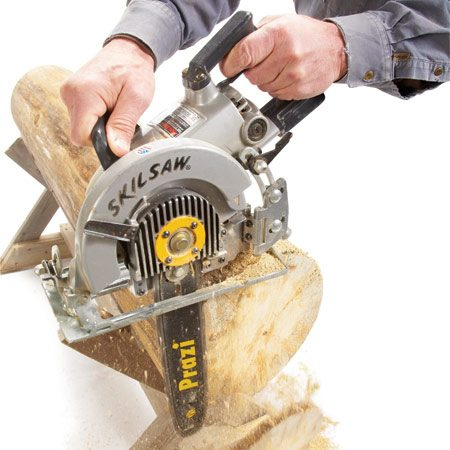 <b>Hybrid circular saw/chain saw</b><br/>The Prazi USA PR2000 12-in. beam cutter is like a mini chain saw that attaches to a standard &quot;sidewinder&quot; circular saw or a worm drive saw. It cuts very fast and is pretty affordable at $150. Installation is as simple as replacing the blade with the Prazi bar.