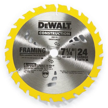 <b>Framing blades</b><br/>Use a 24-tooth carbide framing blade for 90 percent of your cutting. Not just framing—any wood where an ultra-clean cut isn't needed.