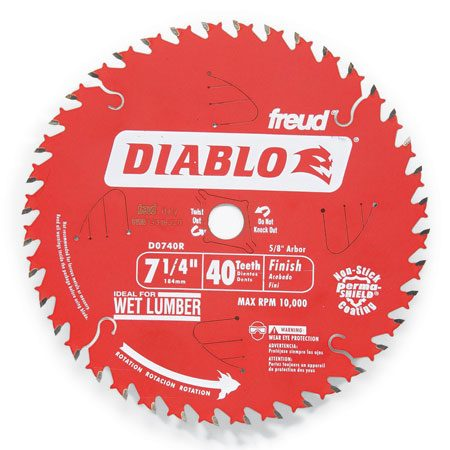 <b>Finish blades</b></br> Grab a 40-tooth finish blade to make finish cuts such as cutting off door bottoms, veneered plywood or plastics.