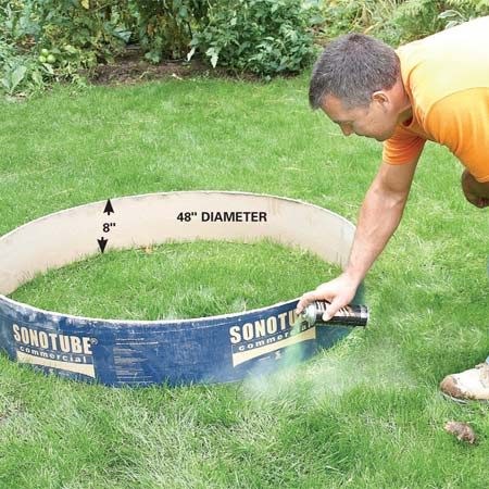 <b>Photo 1: Mark out the pit</b><br/>Set the larger form in position and spray paint around it. Dig a hole about 8 in. deep and 3 in. larger in diameter than the form.