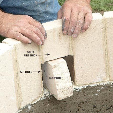 "<b>Photo 8: Create air holes</b></br> Leave gaps in the firebrick in four spots and then fill them with half bricks. These gaps are ""draw holes"" that feed air to the fire. Prop up the half bricks until the mortar sets."