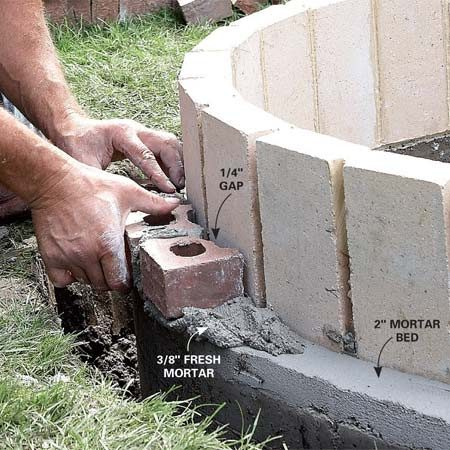 <b>Photo 10: Set the face brick</b></br> Lay a thick bed of mortar and let it harden for 15 minutes. Then lay 3/8 in. of fresh mortar and begin setting brick. Butter one side of each brick before you set it in place.