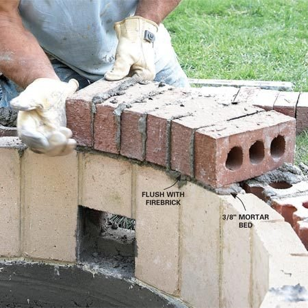<b>Photo 13: Mortar the brick caps</b><br/>Lay a 3/8-in. bed of mortar across 10 to 12 bricks at a time. Lay the bricks on edge and butter the face of each brick on the outside edge as you go.