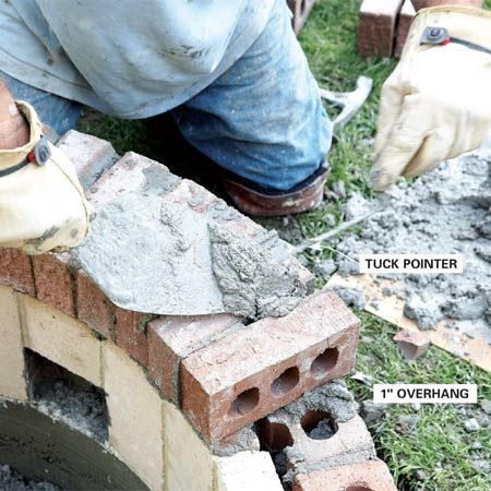<b>Photo 14: Fill gaps</b></br> Add a small amount of mortar to the joints to fill any gaps. Check level frequently and tap gently with a brick hammer to adjust the spacing. Leave a 1-in. overhang on the outside to allow for rain to drip off. Once all the bricks have been mortared in place, strike the joints for a smooth, finished look.
