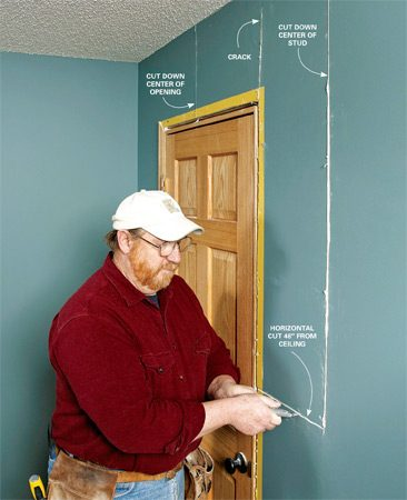 <b>Photo 1: Saw and slice the drywall around the crack</b></br> Remove the door trim and cut the drywall horizontally (with a drywall saw or utility knife) to the nearest stud. Then use a utility knife to slice down the center of the vertical stud and also down the center above the door.