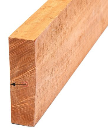 <b>Joint one side</b></br> Send it through the jointer with the bowed side up.