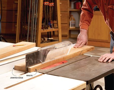 <b>Photo 5: Rip away the waste</b></br> Place the jointed edge against the table saw fence and rip the board to within 1/8 in. of the final width.