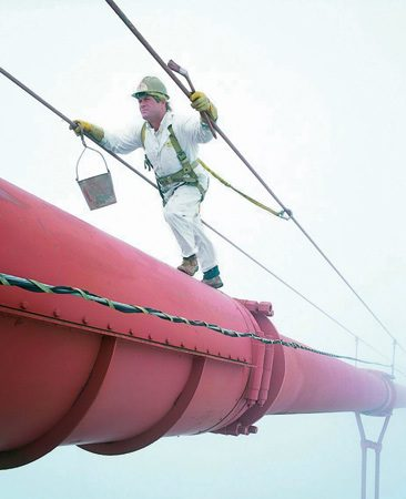 <b>Safety first</b></br> You have to be tied off at all times. Hard hats, safety harnesses, gloves and safety glasses are mandatory. Safety is your main focus and painting comes after that.
