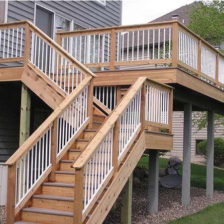 <b>Deck stairs</b></br> Cedar combined with composite decking creates decks that are durable, attractive and structurally strong.