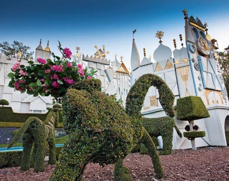 "<b>Topiary characters</b></br> Keeping the animals happy: ""There's a lot of maintenance on the animals that have antlers, horns and stripes, like the zebras. A variety of plants are used on detail areas—palm fiber for antlers and Spanish moss for the zebra stripes."""