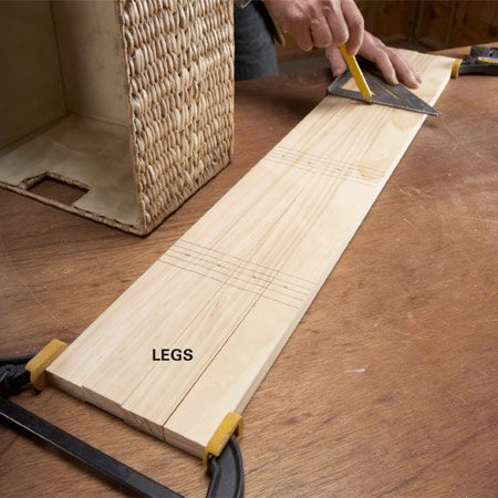 <b>Photo 1: Mark the legs</b></br> Clamp the legs together and mark them all at the same time. That way, all your marks will line up and you'll avoid mismatches.