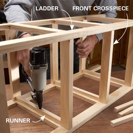 <b>Photo 4: Connect the ladders</b></br> Install the front and back crosspieces with glue and nails. Then add the runners that support the baskets.