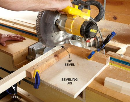 <b>Photo 7: Bevel the legs with a simple jig</b></br> Screw two scraps to a small square of plywood to form a cradle for the legs. Clamp the jig to the miter saw fence, and cut a 10-degree bevel on the bottom of each leg.