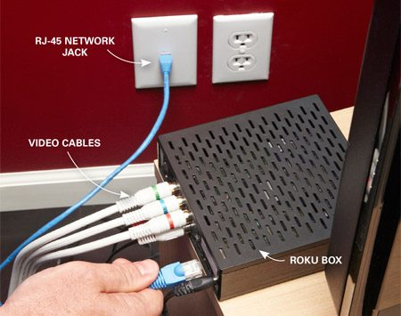 <b>Photo 2: Finish the installation at your TV</b></br> Run a patch cord from the new jack to your streaming device. Then reprogram the unit to turn off the wireless mode and find the hardwired connection.