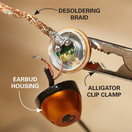 <b>Photo 1: Desolder first</b></br> Wick up the old solder with desoldering braid for a fresh, clean start. Find it at an electronics store or online. Or use a scrap piece of lamp cord to soak up the solder.