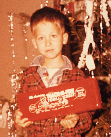 "<b>First tool box</b></br> <p>Ken Collier is the Editor   in Chief of The Family   Handyman. Like many   DIYers, he alternates   between sitting in front   of a computer and trying   to keep his antique house   from falling apart.</p> <p>Here he is at age 7, the   proud owner of his first   tools. His wife calls him   ""the whanger"" because   of his penchant for   whanging together weird   contraptions to solve   problems most other   people don't seem to have.   Besides woodworking,   he goes camping whenever   he can and is slowly   learning how to weld. He still has all 10 fingers.</p>"