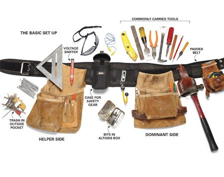 <b>Tool belt organization</b><br/>Lots of pockets save time-consuming trips to the toolbox.