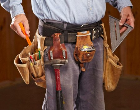 <b>Tool belt basics</b></br> I'm a rightie, so most of my tools go on the right. On the left side, I keep nails, screws and a couple of tools that I hold in my left hand.