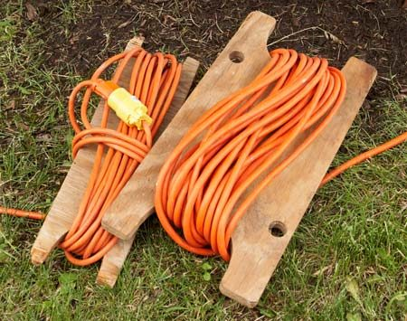 "<b>Organize extension cords</b></br> 	<p>There are as many       systems for storing       extension cords as       there are people who       use them. Me, I cut up       plywood scraps into   ""reels."" They make it       easy to unwind as       much or as little of the       cord as you need, and they keep long cords       from getting tangled. The neat bundles fit       well in buckets and toolboxes. These reels       are especially good for 16-, 14- or 12-gauge       cords; thicker ones don't wind well. And       remember not to keep the cord all wound       up if it's going to draw a continuous heavy load; the cord can get  dangerously hot.</p>"
