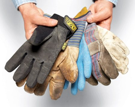 <b>Useful gloves</b><br/>From left to right: High-tech work gloves, insulated pigskin gloves, rubber and knit gloves, gray work gloves, and goatskin TIG welding gloves.