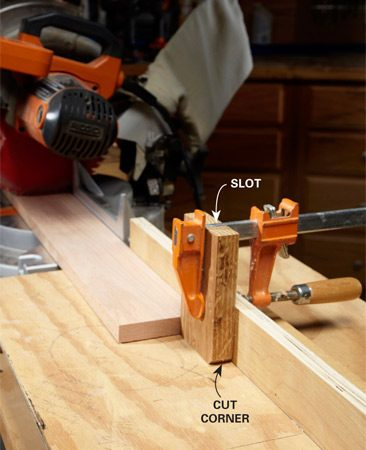 <b>Miter-saw accessory</b><br/><p>This is the stop block that has lived       on my miter saw table for many years.       You can&rsquo;t get much simpler: a block,       with the corners knocked off so dust       buildup doesn&rsquo;t throw off the precision,       and a slot that fits snug over a little       bar clamp. Perfection. You can gild the       lily with a little adhesive-back sandpaper       on the back of the block to be     double-sure it won&rsquo;t slip out of place. </p>