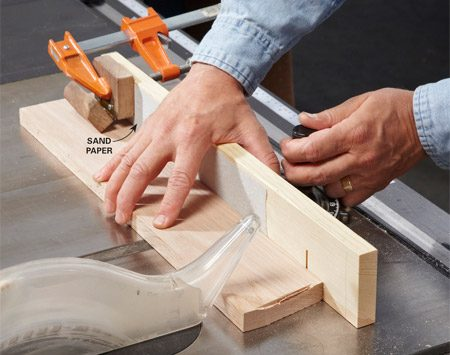 <b>Table saw miter gauge</b></br> For the best miter cuts, use a table saw with a top-quality miter gauge.