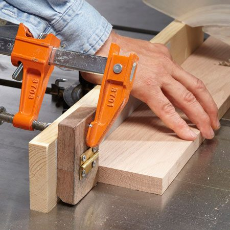 <b>Miter gauge stop</b></br> I've used this setup for 30 years. It's a classic. Flip it up to cut one end of a board square (see Miter gauge photo above); flip it down to cut the board to length. If you make one, choose a hinge without much play, and knock off the corners of the blocks so sawdust doesn't build up.