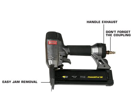 <b>Features to look for</b><br/><p>Whether you&rsquo;re using a finish or a   brad nailer, you&rsquo;ll occasionally hit   something hard (like a drywall   screw) that will cause the gun to   jam. This gun lets you clear jams   just by opening the magazine. Others   have a quick-release nosepiece.   Without these options, you have to   disassemble the nosepiece.</p> <p>Some models exhaust   through the handle,   away from walls and   trim.</p> <p>Before you leave   the store, check   to see if the gun   comes with a   coupling. Many   don&rsquo;t. If it comes   with a swivel   coupling, buy a   non-swivel   version. Jerome   says he&rsquo;s never   met a swivel   coupling that didn&rsquo;t leak. </p>