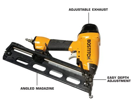 <b>Features to look for</b></br> <p>Finish nailers come in two shapes. On some,   the magazine is parallel to the handle. On   others, it's angled. Angled is the way to go.   It's easier to get into tight  spots.</p> <p>A gun with a fixed exhaust port   can leave oily stains on the wall.   An adjustable port lets you aim   the exhaust away from the wall.</p> <p>The gun should   countersink   nails without   driving them so   deep that they   split the trim or   blast right   through. The   crude way to   control depth is   to adjust   pressure at the   compressor. A   better way is to   get a gun with a   depth dial on   the nosepiece. </p>