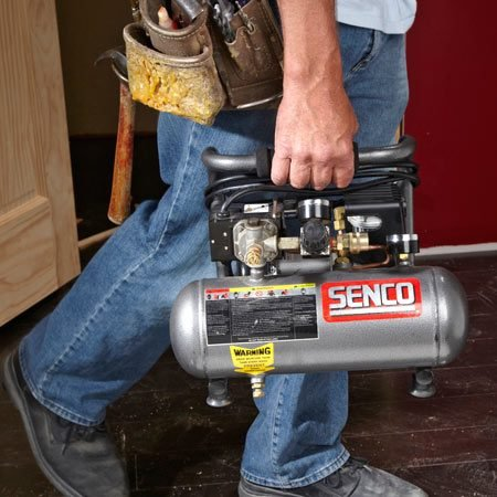 <b>Lighter is better</b></br> A small, lightweight compressor can handle trim jobs as easily as a bigger, heavier model, and it's easier to carry.