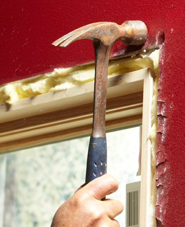 <b>Projects more than 1/8 in.</b></br> If the drywall projects more than 1/8 in., crush in the drywall with a hammer. Just be sure the crushed area will be covered by trim. In this situation, your miters won't be 45 degrees. You may need to go as low as 44 degrees to get a tight miter.