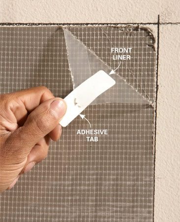 <b>Photo 6: Peel of the front liner</b></br> Use the sticky tabs included with the tile adhesive to peel off the front liner. Once you get it started, it's easy to peel off the rest.