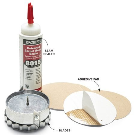 <b>Tool and materials</b></br> You'll need seam sealer, a cookie cutter carpet tool and adhesive pads for the repair.