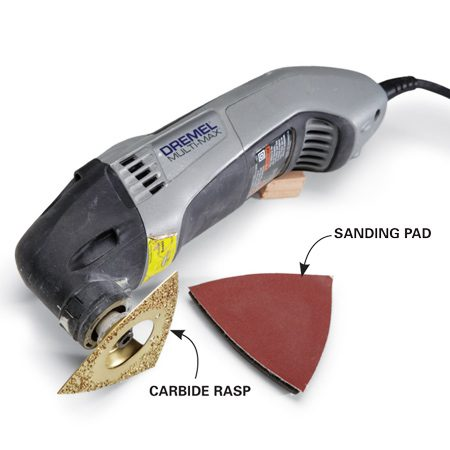 <b>Detail sander</b></br> Use a detail sander for corners, tight spots and small details