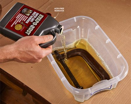 <b>Buy enough solution to completely cover the rusted part</b></br> Clean off any oil or grease before soaking. Pour the solution in a plastic tub. Then drop in the rusted item and walk away.