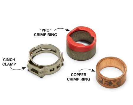 <b>Connecting PEX</b></br> There are several ways to connect PEX; cinch clamps and copper crimp rings are the most practical for DIYers.