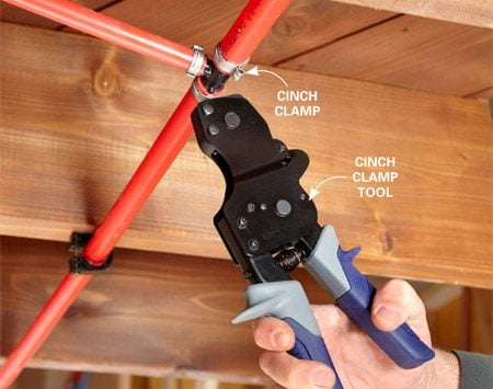 <b>Using a cinch clamp</b><br/>Cinch clamp tools are simple to use and work for all sizes of pipe.