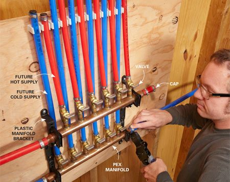 <b>PEX manifold</b><br/>Manifolds look intimidating, but they actually simplify plumbing runs and reduce possible leaks by eliminating the need for tees and other fittings between the main supply line and the fixture.