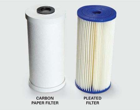 <b>Filter types</b></br> Carbon paper filters catch smaller particles, but pleated filters cost less and last longer.