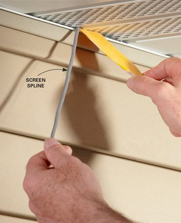 <b>Push in spline</b></br> Push the soffit tight against the top of the channel with rubbery screen spline.